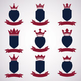 Collection of empire design elements. Heraldic royal crown illustration, Stock Photography