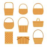 Collection of empty baskets, isolated on white background. Flat style vector illustration Stock Photos
