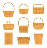 Collection of empty baskets, isolated on white background. Flat style vector illustration Stock Photo