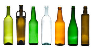 Collection of empty bottles Royalty Free Stock Images