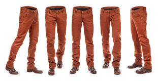 Collection of empty brown jeans stock photo