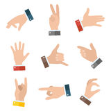Collection empty hands showing different gestures. 9 icons set  on white background. Vector hand illustration Stock Photos
