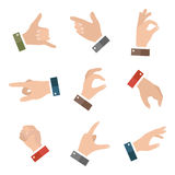 Collection empty hands showing different gestures. 9 icons set  on white background. Vector hand illustration Royalty Free Stock Image