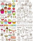Collection en abondance tirée par la main de petits gâteaux images stock