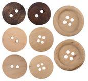 Collection en bois de boutons d'isolement sur le fond blanc Photos stock