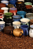 Collection en céramique de tasse photos libres de droits