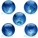 Collection en verre bleue de la terre Image libre de droits