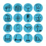 Set of energy and ecology line icons. Collection of energy and ecology icons in thin line style. Renewable energy sources, ecology transport and objects in stock illustration
