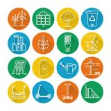 Set of energy and ecology line icons with long shadow. Collection of energy and ecology round icons in thin line style. Renewable energy sources, ecology royalty free illustration