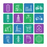 Set of energy and ecology line icons. Collection of energy and ecology square icons in thin line style. Energy sources, ecology transport and objects in linear stock illustration