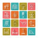 Set of energy and ecology line icons. Collection of energy and ecology square icons in thin line style. Renewable energy sources, ecology transport and objects stock illustration