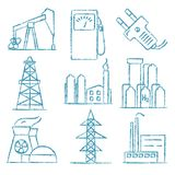Set of energy and electricity hand drawn icons Stock Photo