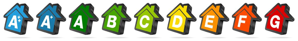 Set Of Energy House Icons Black And Color stock illustration