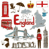 Collection of England icons. Fun colorful sketch collection of England icons, countries alphabet stock illustration