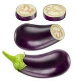 Collection entière et coupée d'isolement d'aubergines Image stock