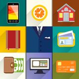Collection of entrepreneur icons Royalty Free Stock Image