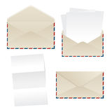 Envelope and paper sheets. Collection of envelopes and empty paper sheets over white background Stock Image
