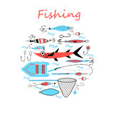 Collection of equipment and hooks for fishing Stock Photography