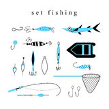 Collection of equipment and hooks for fishing Royalty Free Stock Images