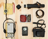 Collection equipment for tourist or expedition. Retro concept Royalty Free Stock Image