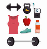 Collection equipment work gym fitness. Vector illustration eps 10 Stock Photo
