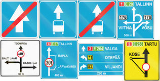 Collection of Estonian road signs Stock Photos