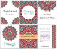 Collection of ethnic cards and wedding invitations with indian ornament. Stock Photography
