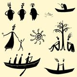 Collection of ethnic characters. Collection of ethnic men, ethno set Royalty Free Stock Image