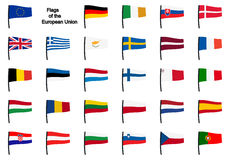 Collection EU flags Royalty Free Stock Images
