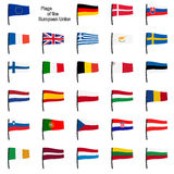 Collection EU flags Stock Photos