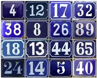 Collection of european adress numbers on blue stock illustration