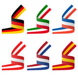 Collection of european country flag banners Royalty Free Stock Photos