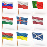 Collection of european flags Royalty Free Stock Photography