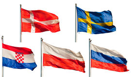 Collection of european flags. A collection of six european flags isolated on white background royalty free stock image