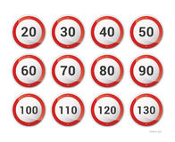Collection of European roadsigns Royalty Free Stock Photo