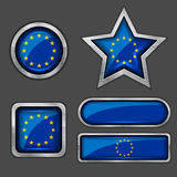 Collection of european union flag icons Stock Image