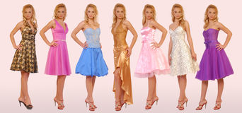 Collection of evening dresses Stock Photos
