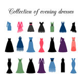 Collection of evening dresses. Collection of colorful different evening dresses, vector icons Stock Photos