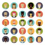 Flat Design Everyday People Avatar Vector Icon Set. Collection of 25 everyday people avatar icons in circles Royalty Free Stock Image