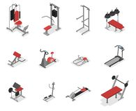 Collection of exercise machine for the gym. Equipment set for fitness and muscle building. Idea of healthy lifestyle. ector isometric illustration isolated stock illustration