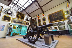 Collection of exhibits at the Royal Museum of the Armed Forces and Military History in Brussels Stock Photos
