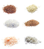 Collection of exotic sea salts isolated on white Royalty Free Stock Photography