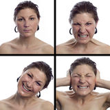Collection of expressions from young woman Stock Images
