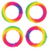 Collection f 4 isolated circular arrows in rainbow color gradien Stock Images