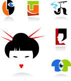 Collection of face icons. And logos - for additional works of this kind, CLICK ON MY NICKNAME BELOW TO VISIT MY GALLERY Stock Images