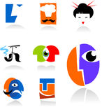 Collection of face icons. And logo  - for additional works of this kind, CLICK ON MY NICKNAME BELOW TO VISIT MY GALLERY Royalty Free Stock Photos