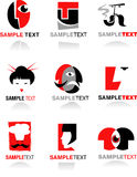 Collection of face icons. And logo Royalty Free Stock Photos