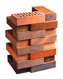 Collection of facing bricks isolated included clipping path Royalty Free Stock Photos