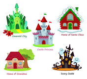 Collection of fairy houses  on white background. Royalty Free Stock Images