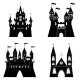 Collection of fairytale castle silhouettes. Vector illustration Stock Image